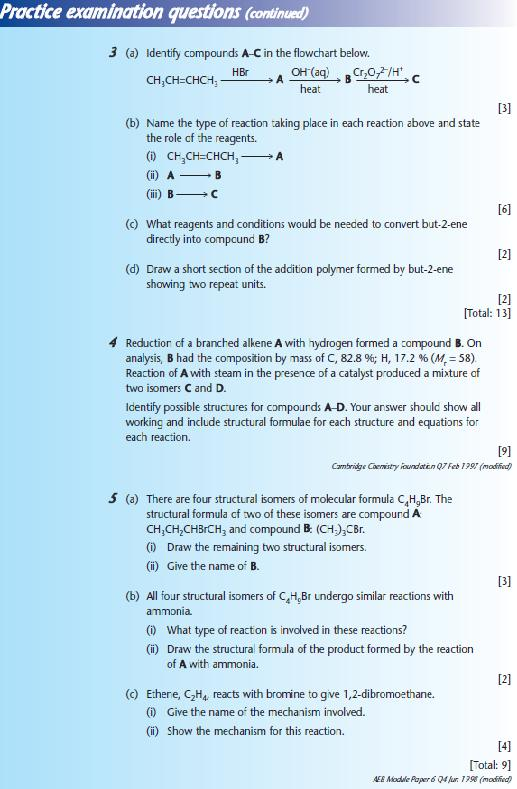 Practice examination questions 2 - Chemistry A-Level Revision