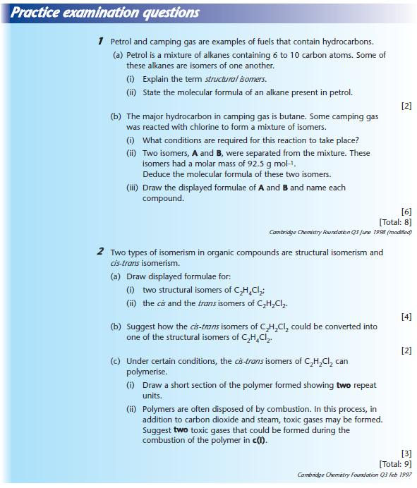 Practice examination questions - Chemistry A-Level Revision